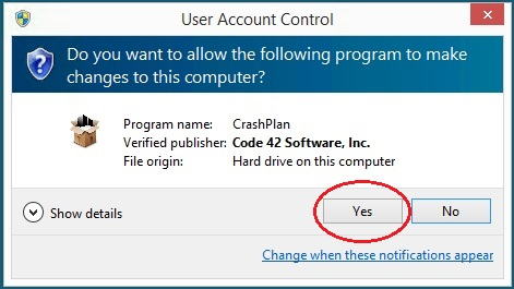 Give your permission to run the installer; click Yes
