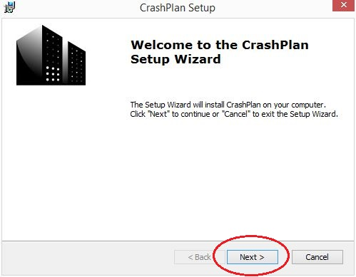 Welcome to CrashPlan setup wizard; click Next