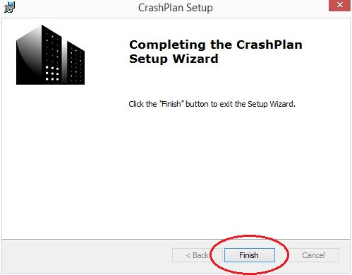 Completing the CrashPlan Setup Wizard; click Finish