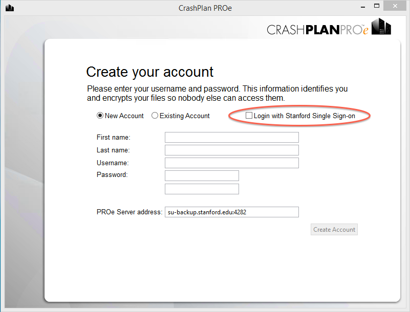 Create your account; check Login with Stanford Single Sign-on