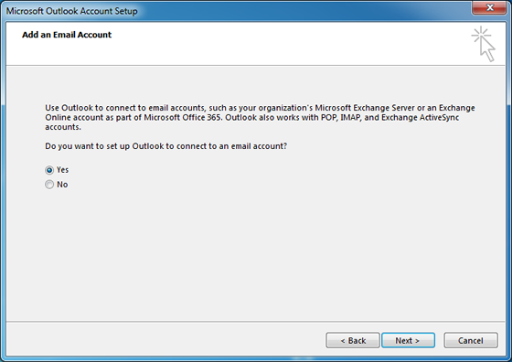 Add Email Account dialog box