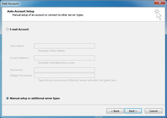 choose to set up your account manually