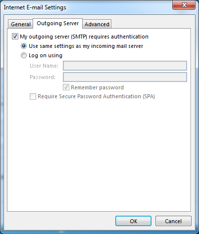 outgoing email server information