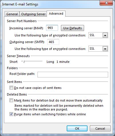 advanced email settings