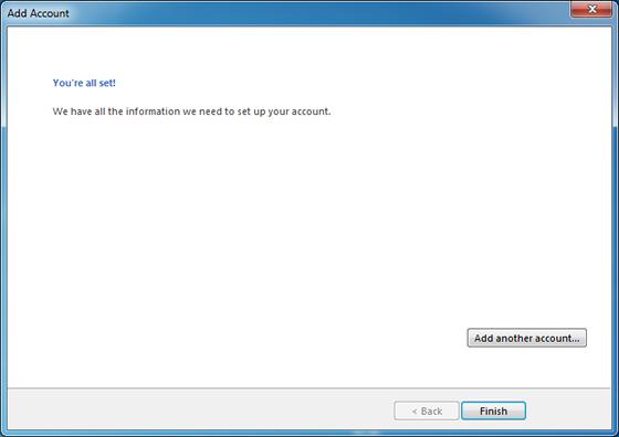 Finish email account setup