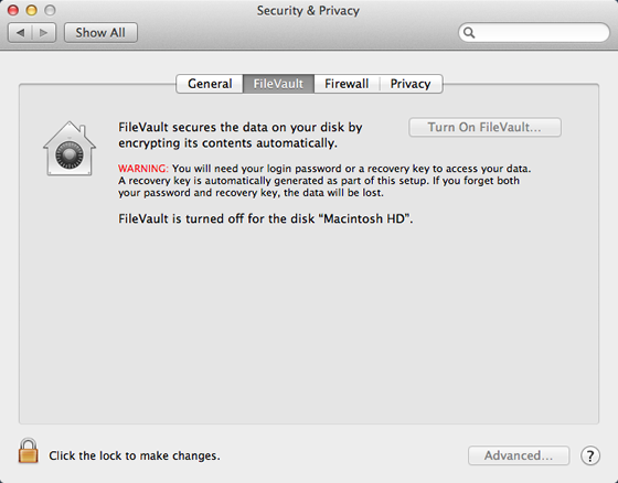 FileVault tab selected