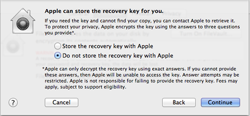 do not let Apple store you recovery key