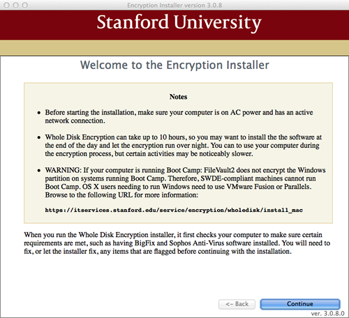 Encryption Installer welcome screen