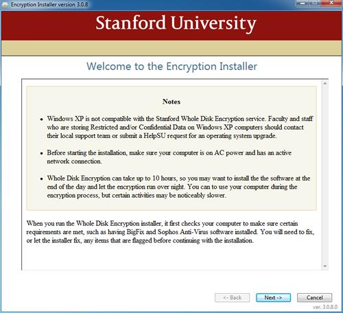 Encryption Installer welcome screen