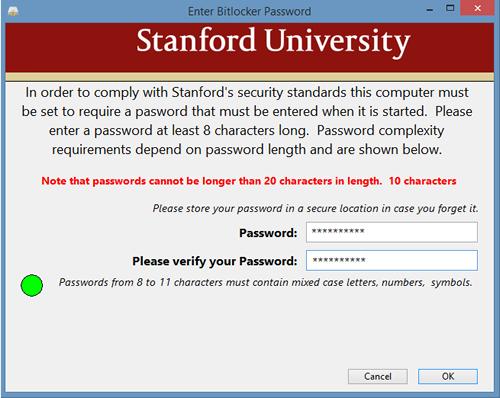 create a BitLocker password