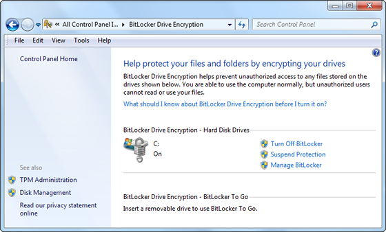BitLocker Drive Encryption control panel
