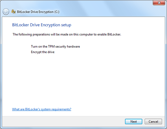 preparations to enable BitLocker