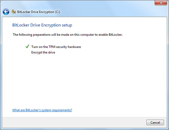 BitLocker wizard resumes