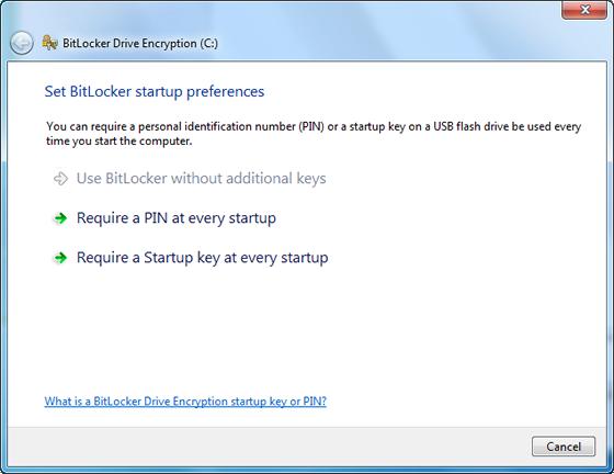 BitLocker startup preferences