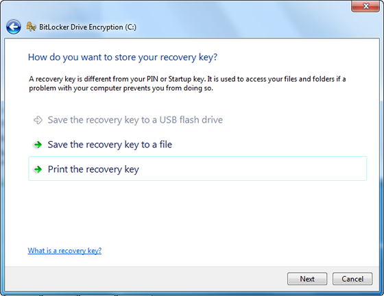 select where you want to store your recovery key
