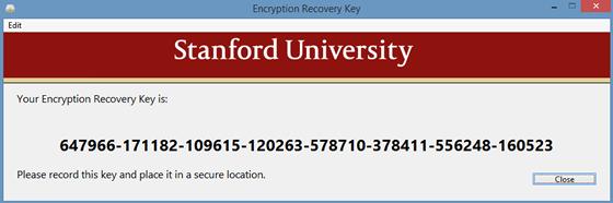 Encryption recovery key
