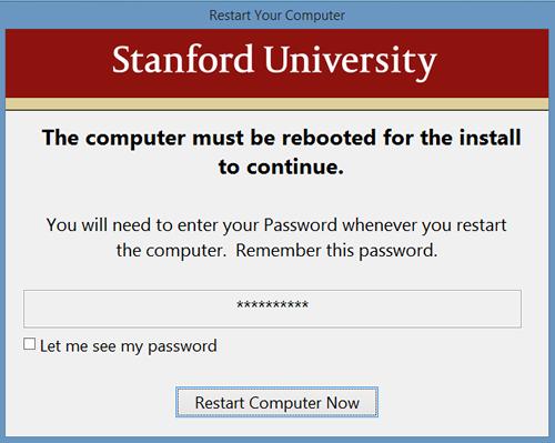 restart computer to begin encryption