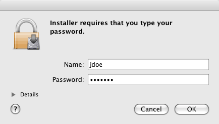 authenticate to your Mac adminstrator account