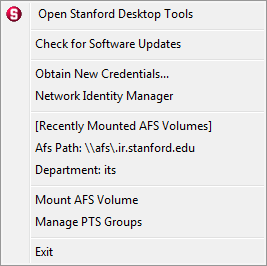 Stanford Desktop Tools contextual menu
