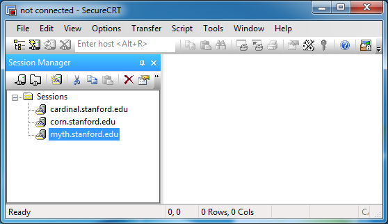 Session Manager window with new session highlighted