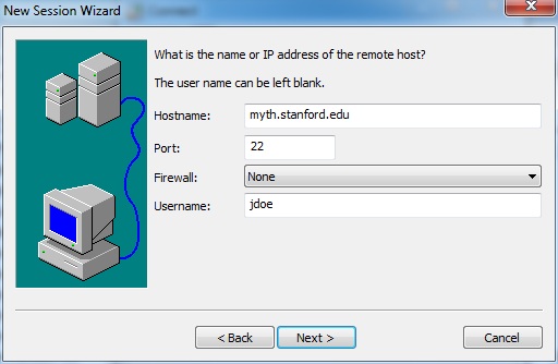 enter name or IP address of new session