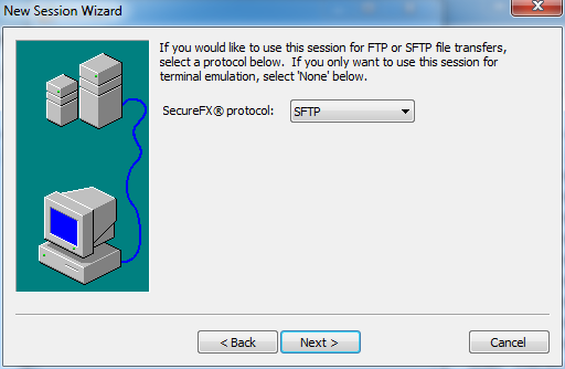 select protocol for FTP and STFP file transfers for this session