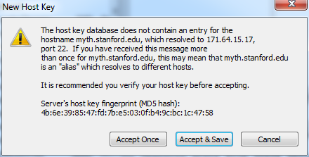 accept and save new host key for this session
