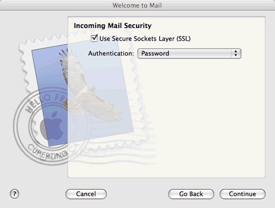 incoming mail security settings