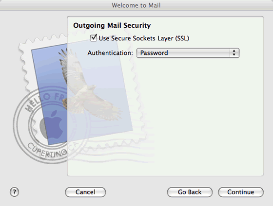 outgoing mail security settings
