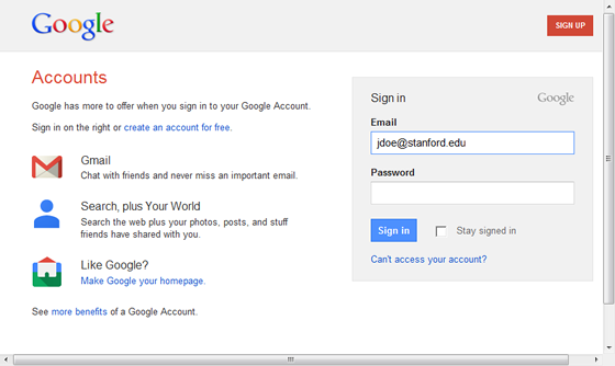 log in to Google Apps