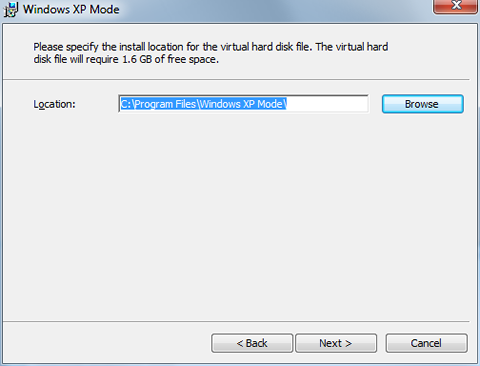 choose location for virtual hard disk file