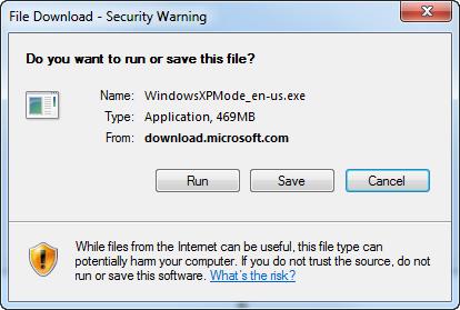 run Windows XP Mode installer