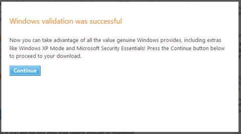 Windows validation was successful