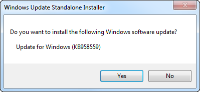 Prompt to install update for Windows
