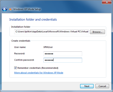Windows XP Mode credentials