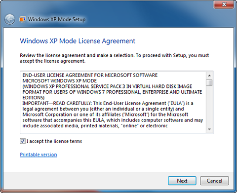 Windows XP Mode license agreement