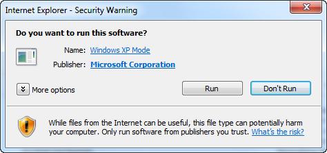 run Windows XP Mode software
