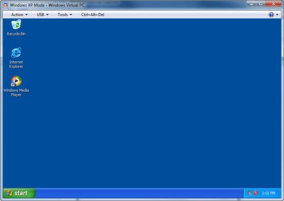 Windows XP Mode window