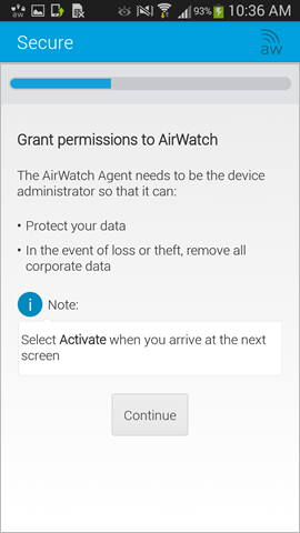 grant permissions to AirWatch