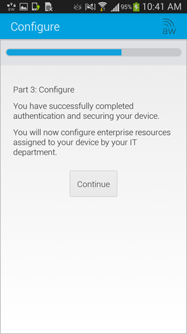 begin configuration part of enabling MDM