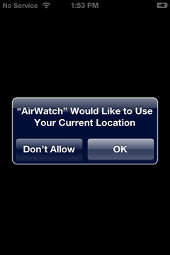 allow AirWatch to use your current location