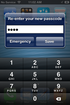 re-enter your new passcode