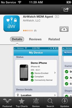 dowload the AirWatch application