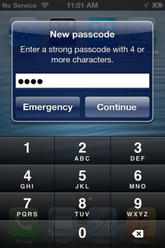 enter a new passcode or four or more digits