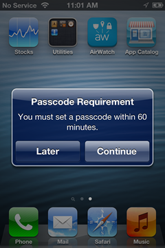 notice that a passcode is required