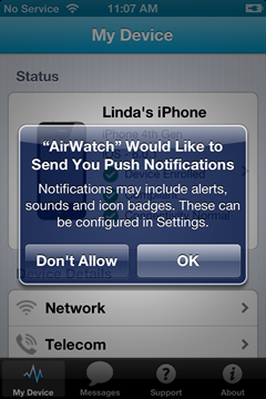 allow AirWatch to send you push notifications