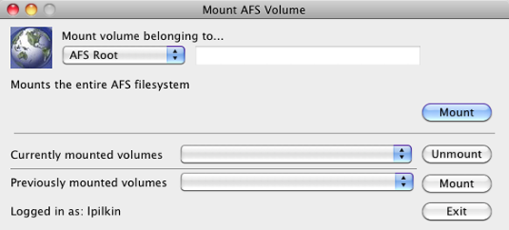 mount the AFS root volume