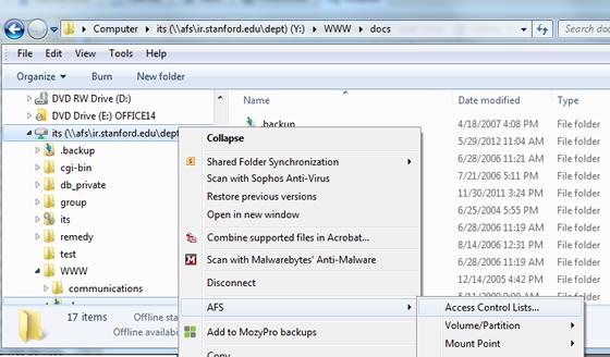 access control list menu