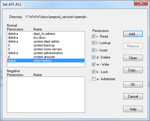 Set AFS ACL dialog box with PTS group added