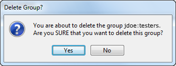 delete PTS group confirmation message